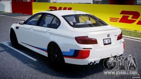 BMW M5 F10 2012 M Stripes for GTA 4 upper view