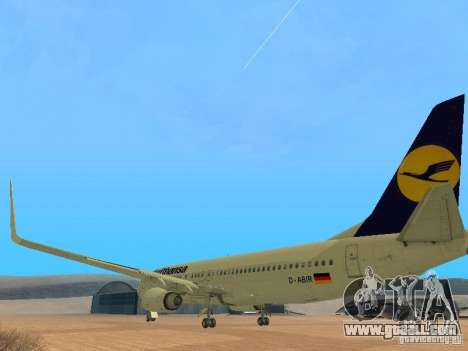 Boeing 737-800 Lufthansa for GTA San Andreas back left view