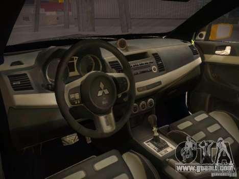 Mitsubishi Lancer Evo X Tunable for GTA San Andreas back left view