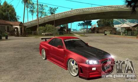 Nissan Skyline GTR-34 Carbon Tune for GTA San Andreas back view