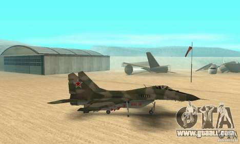 MIG-29 for GTA San Andreas back left view
