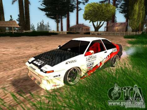 Toyota AE86 Coupe for GTA San Andreas bottom view