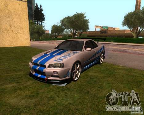Nissan Skyline R-34 GT-R M-spec Nur for GTA San Andreas back view