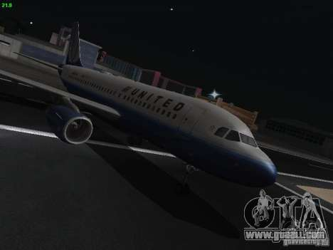 Airbus A319 United Airlines for GTA San Andreas back view