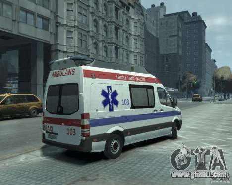 Mercedes-Benz Sprinter Azerbaijan Ambulance v0.1 for GTA 4 right view