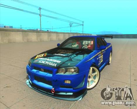 Nissan Skyline GT-R R34 M-Spec Nur for GTA San Andreas bottom view