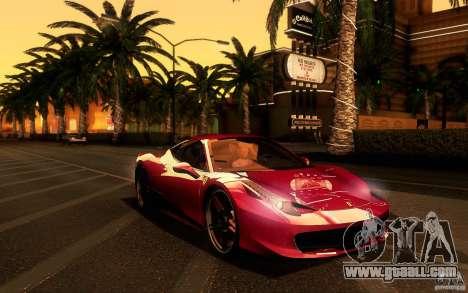 Ferrari 458 Italia Final for GTA San Andreas inner view