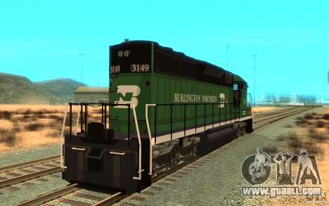 SD 40 Union Pacific Burlington Northern 3149 for GTA San Andreas back left view