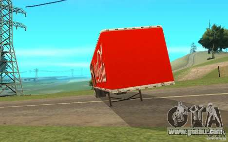 The semitrailer to the Peterbilt 379 Custom Coca for GTA San Andreas left view