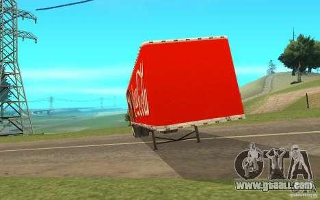 The semitrailer to the Peterbilt 379 Custom Coca for GTA San Andreas left view