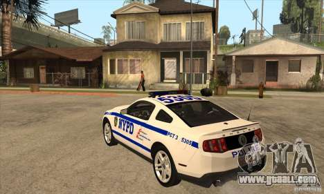 Shelby GT500 2010 Police for GTA San Andreas back left view
