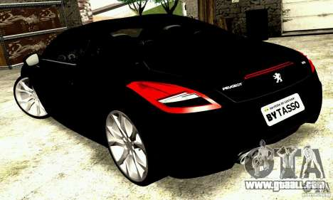Peugeot Rcz 2011 for GTA San Andreas back left view