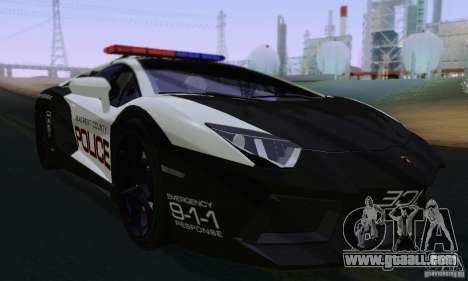 Lamborghini Aventador LP700-4 Police for GTA San Andreas left view