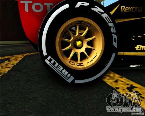 Lotus E20 F1 2012 for GTA San Andreas back left view