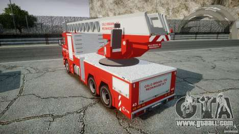 Scania Fire Ladder v1.1 Emerglights blue-red ELS for GTA 4 back view