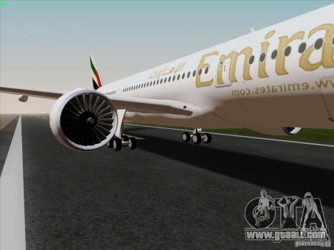 Airbus A350-900 Emirates for GTA San Andreas back view