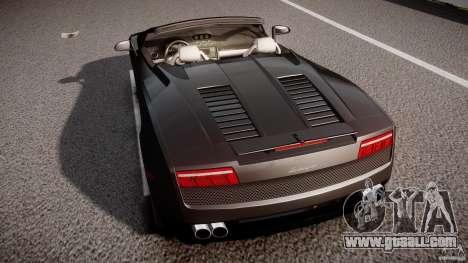 Lamborghini Gallardo LP560-4 Spyder 2009 for GTA 4 bottom view