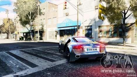 Audi R8 Spider 2011 for GTA 4 back left view
