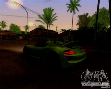 Porsche 918 Spyder Concept Study for GTA San Andreas back view