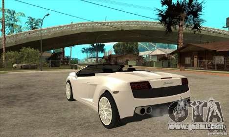 Lamborghini Gallardo Spyder v2 for GTA San Andreas back left view