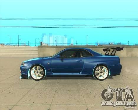 Nissan Skyline GT-R R34 M-Spec Nur for GTA San Andreas left view