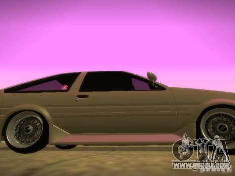 Toyota Sprinter Trueno AE86 for GTA San Andreas back left view