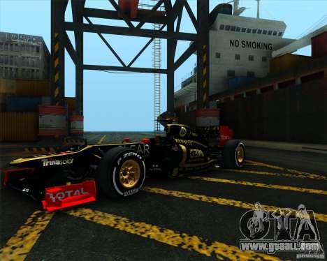 Lotus E20 F1 2012 for GTA San Andreas right view