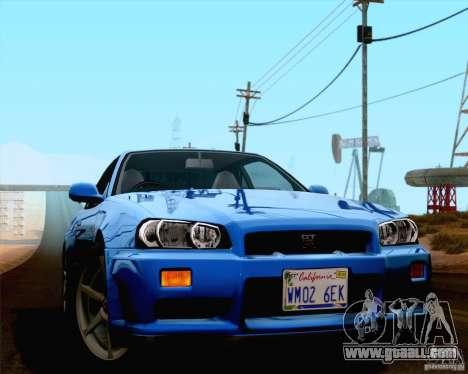 Nissan Skyline R34 for GTA San Andreas back left view