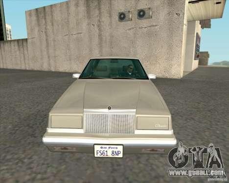 Chrysler New Yorker 1988 for GTA San Andreas inner view