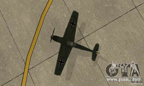 Bf-109 for GTA San Andreas back view