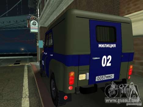 UAZ 3151 Police for GTA San Andreas back left view