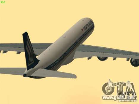 Airbus A340-600 Singapore Airlines for GTA San Andreas upper view