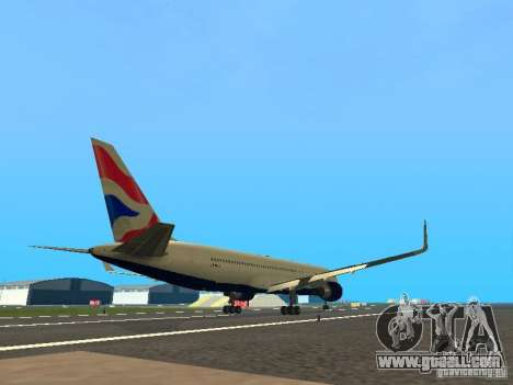 Boeing 767-300 British Airways for GTA San Andreas right view