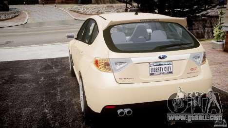Subaru Impreza WRX STi 2009 for GTA 4 back left view