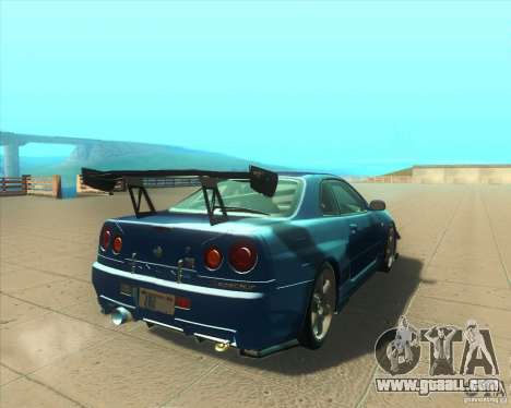 Nissan Skyline GT-R R34 M-Spec Nur for GTA San Andreas right view