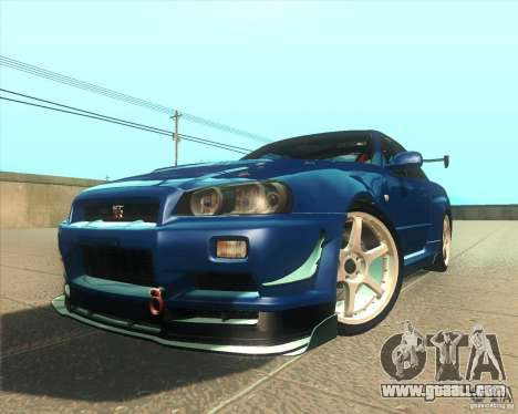 Nissan Skyline GT-R R34 M-Spec Nur for GTA San Andreas inner view