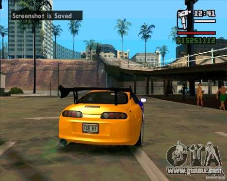Toyota Supra Drift for GTA San Andreas back left view