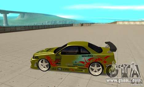 Nissan Skyline R34 GTR for GTA San Andreas left view