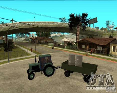 Tractor Belarus 80.1 and trailer for GTA San Andreas inner view