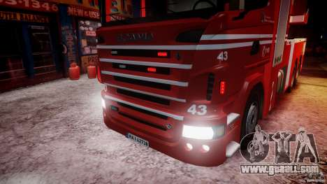 Scania Fire Ladder v1.1 Emerglights blue-red ELS for GTA 4 interior