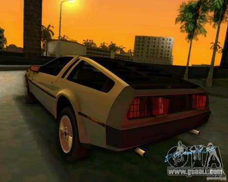 DeLorean DMC-12 V8 for GTA Vice City back view