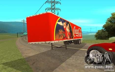 The semitrailer to the Peterbilt 379 Custom Coca for GTA San Andreas back left view