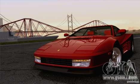 Ferrari Testarossa 1986 for GTA San Andreas back view