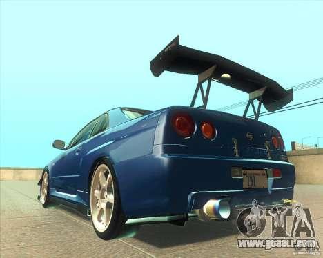 Nissan Skyline GT-R R34 M-Spec Nur for GTA San Andreas side view