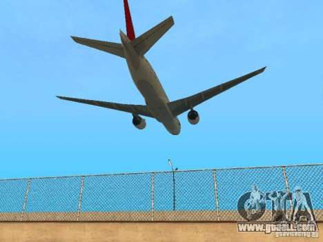 Boeing 777-200 Japan Airlines for GTA San Andreas back view