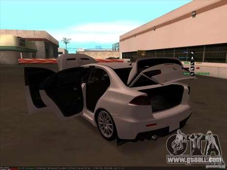 Mitsubishi Lancer Evolution X for GTA San Andreas bottom view