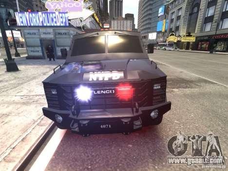 Lenco BearCat NYPD ESU V.1 for GTA 4 inner view