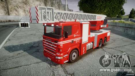 Scania Fire Ladder v1.1 Emerglights blue-red ELS for GTA 4 back left view