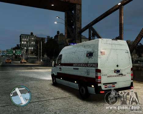 Mercedes Benz Sprinter American Medical Response for GTA 4 left view