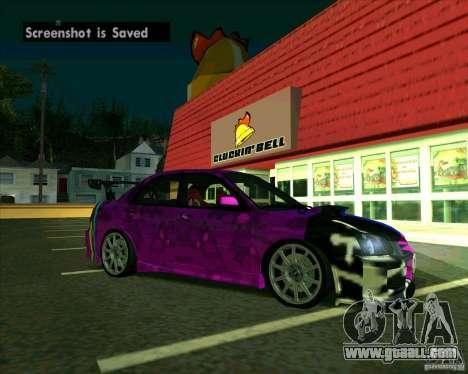 Subaru Impreza Tuned for GTA San Andreas back left view